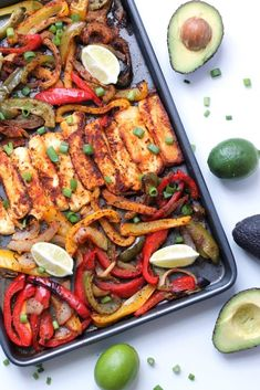 Roasted Halloumi Fajitas Roasted halloumi and veggie fajitas! Thanks to it's robust, grill-able texture, halloumi cheese is so much fun to cook with and makes the best vegetarian fajita filling! In this recipe, halloumi is seasoned and roasted in the oven Veggie Dishes, Veggie Recipes, Gourmet Recipes, Mexican Food Recipes, Cooking Recipes, Healthy Recipes, Hallumi Recipes, Cooking Ideas, Veggie Food