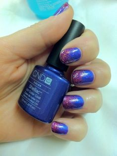 Brush up and Polish up!: CND Shellac Nail Art - Purple Purple & Glitter Fade