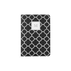 #classy - #Silver and black quatrefoil Passport Holder