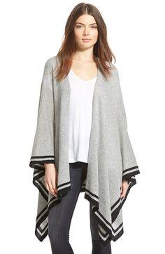 stripe border wool & cashmere wrap