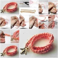How to make Pink Fashionable Bracelet step by step DIY tutorial instructions thumb , How to, how to make, step by step, picture tutorials, d by Mary Smith fSesz