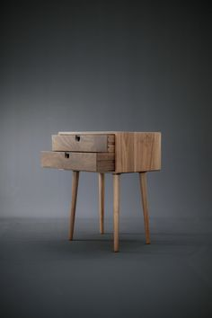 Walnut Mid-Century Scandinavian bedside Table / Nightstand in solid Walnut board , retro legs made of solid oak or walnut Walnut Furniture, Diy Furniture, Furniture Design, Solid Wood Table, Wood Bedroom, Rustic Wall Decor, Komodo, Nightstand, Bedside Tables