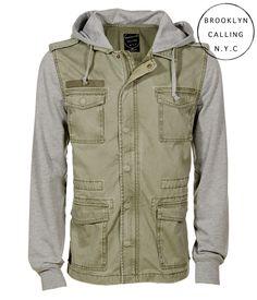 Brooklyn Calling Hooded Full-Zip Military Jacket - Aeropostale