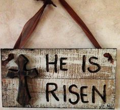 Easter HE IS RSEN recycled wood sign hand painted by AdellesAvenue, $18.50