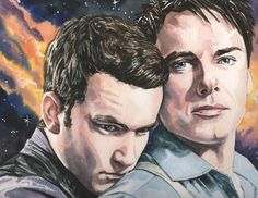 Ianto and Jack Torchwood Portrait Art 10 x 7.5 Reproduction Print    Artist: Mark Satchwill