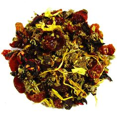 Winter Berries – Full Leaf Tea Company  Strawberry leaves, raspberry leaves, rose hips, and marigold flowers, hibiscus, and infused with berry flavoring. Sweet and beautiful in full leaf. #herbaltea