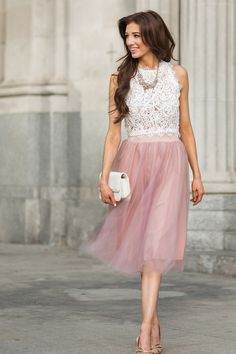 Tulle Midi Skirt, Pink Tulle Skirts, Midi Skirts for Women, Romantic Outfit Inspiration, Bridal Outfit