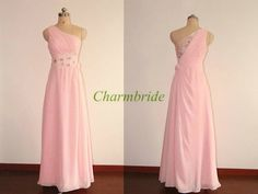 Fashion one shoulder floor length prom dress with crystals   beaded chiffon cheap gowns for party    unique simple evening dresses hot on Etsy, $128.00
