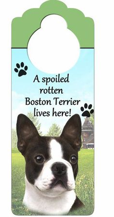 Boston Terrier Dog Door Knob Hanger available at www.DogLoverStore.com