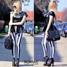 Black-White Stripe Leggings, very sexy