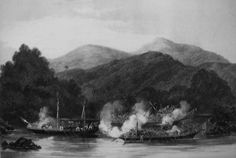 Attack by Illanun pirates on James Brooke's Jolly Bachelor, T. Datu, 1843