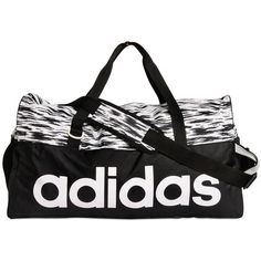 ADIDAS PERFORMANCE Training Printed Performance Duffle Bag -... ($36) ❤ liked on Polyvore featuring bags, handbags, workout, white and black handbags, adidas, black white purse, print handbags and duffel bags
