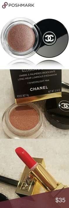 CHANEL 118 moonlight pink Long-wear Luminess eyeshadow Throwing into Deluxe samples La Mer and YSL  All new and AUTHENTIC  Authentic and limited edition CHANEL Makeup Eyeshadow