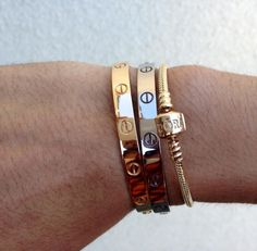Cartier LOVE bracelet Discussion - Page 479 - PurseForum Love Bracelets, Bangle Bracelets, Bangles, Cartier Mens Bracelet, Pandora Bangle, Golden Jewelry, Swag, Layered Jewelry, Gold Fashion