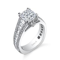 Diamonds: Rounds .31 Carats -Baguette .87 Carat (not including 1 Carat center stone) The Cascade bridal collection represents a promise of eternal love. Vanna K Fine Jewelry is known for its famous exclusive designs and expertly hand-crafted micro-pave diamond engagement rings. """"""
