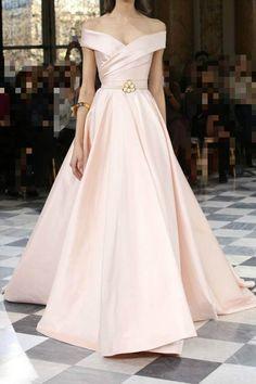Off the shoulder prom dress, pink satin prom dress, ball gowns wedding dress