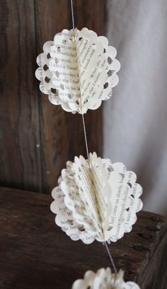 paper garland circle scallop garland book page decoration - Book Page Decorations