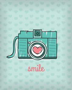 Smile wallpaper I wanna see you smile :) Cute Backgrounds, Cute Wallpapers, Art And Illustration, Camera Illustration, Photo Images, Poster S, Retro, Iphone Wallpaper, Doodles
