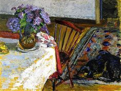 """"""" Pierre Bonnard - Interior, The Dog, Black, and Bouquet of Lilacs """""""
