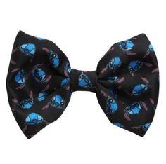 Disney Lilo & Stitch Tossed Heads Black Bow Tie New With Tags!