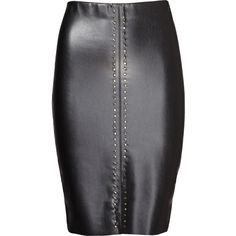"""Black vegan leather and ponte (70% Polyurethane, 30% Nylon). Fitted skirt with grommet details. Elastic waistband. Lined. 22"""" from waist to hemline. Made in th…"""