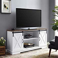 online shopping for Walker Edison WE Furniture TV Stand 58 White/Rustic Oak, White/Reclaimed Barnwood from top store. See new offer for Walker Edison WE Furniture TV Stand 58 White/Rustic Oak, White/Reclaimed Barnwood Entertainment Furniture, Entertainment Center, Furniture Decor, Living Room Furniture, White Furniture, Smart Furniture, Modern Furniture, Raul Sanchez, Barn Door Tv Stand