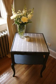 Upcycled Vintage End Tables with a Fabric Top!
