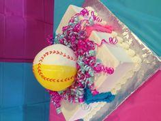 Gender reveal cake. Softball mom baseball dad.