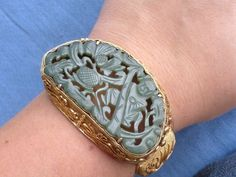 Very appealing modern/vintage gilt silver filigree Chinese export bracelet with carved jade plaque.