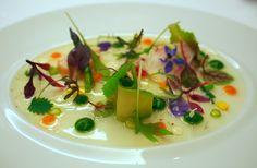 Lasarte, Barcelona: Vegetable leaf salad, herbs, sprouts & petals, avocado, with lettuce cream