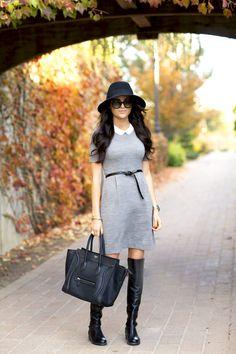 #grey #Dress #Boots