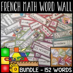 This BUNDLE includes a complete French Math Word Wall for all Math strands and units listed below. The word wall includes a total of 152 words. You save by purchasing this bundle! Each unit is also sold separately: Number Word Wall Labels, Math Word Walls, Geometry Activities, English File, Word Patterns, Math Words, French Resources, Vocabulary Cards, Language Activities