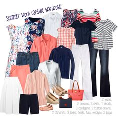 Summer wardrobe capsule: navy & coral by kristin727 on Polyvore featuring Lands' End, J.Crew, Boden, Madewell, Gap, Miss Selfridge, Oxford and Dooney & Bourke