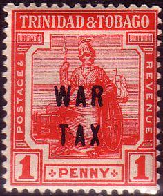 Trinidad and Tobago 1918 WAR TAX Overprint SG 186 Fine Mint Scott MR11  Other Trinidad and Tobago Stamps HERE