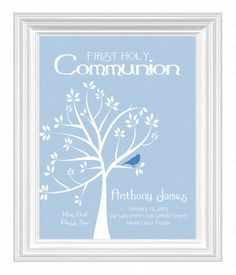 Communion Personalized Gift- First Holy Communion Print- Boys room wall art- Other colors available. $15.00, via Etsy.