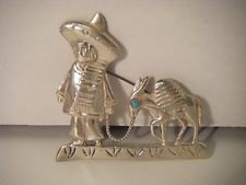 ADORABLE LITTLE BOY & HIS DONKEY!  MEXICO STERLING SILVER BROOCH PIN