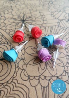 Pretty Rose Earrings #fimo #jewellery  https://www.etsy.com/uk/listing/163304415/red-or-blue-or-lilac-rose-earrings