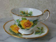 PARAGON TEACUP and SAUCER SET - Yellow Rose E50I, TEA CUP, bone china    | eBay