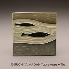 Two Fish 4x4 tile Ruchika Madan on Etsy