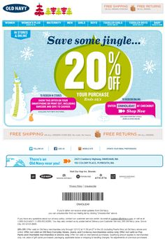 20% off at Old Navy, or online via checkout promo ONHOLIDAY coupon via The Coupons App