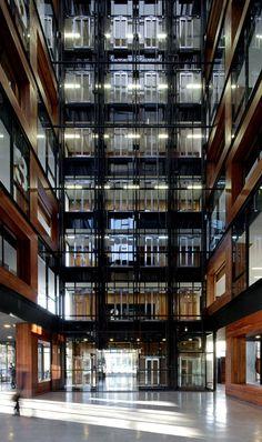Innovation Center UC – Anacleto Angelini. ELEMENTAL . Alejandro Aravena. Interior hall.