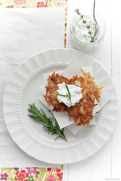 Delicious Shots: Ginger Potato Pancakes with Herbed Goat Cheese-try them baked