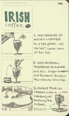 How to make Irish coffee. Irish Coffee, Coffee Cafe, Homemade Chocolate Syrup, 21 And Over, Discount Coffee, Sketch Notes, Change Management, Cocktails, Drinks