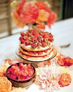 Almond-cornmeal pound cake with mascarpone cream and strawberries