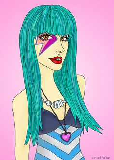 Jem and the Holograms 03 illustration by Clare and the Bear. ALL RIGHTS RESERVED. #clareandthebear #clareannenield #art #artist #illustration #jem #jemandtheholograms #tealhair #bluehair #bluehairdontcare #fashion #fashiondesign #fashionilustration #vintage #retro #makeup #beauty