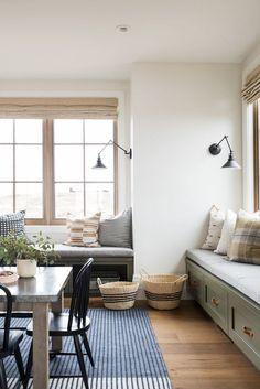 Room Inspiration, Design Inspiration, Studio Mcgee, Built In Bench, Bedroom Green, Home Studio, Window Treatments, Home Remodeling, House Design