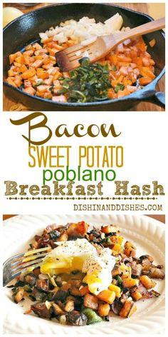 Bacon Poblano Sweet Potato Breakfast Hash - a delicious alternative to regular potatoes for breakfast!  #fallfest #foodnetwork #sweetpotatoes #bacon #poblanos #hash #breakfast