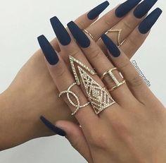 Navy blue matte acrylic nails