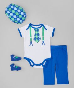 Take a look at this Blue & Green Argyle Faux Tie Bodysuit Set - Infant on zulily today!