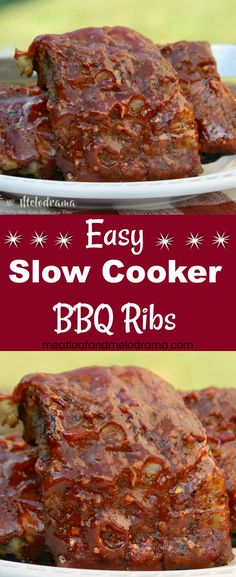 Easy Slow Cooker BBQ Ribs - Ribs are seasoned with dry rub then cooked in the Crock-Pot and finished off on the grill or in the oven. Top with your favorite barbecue sauce and these are perfect for your next cookout or an easy summer dinner! from Meatloaf and Melodrama